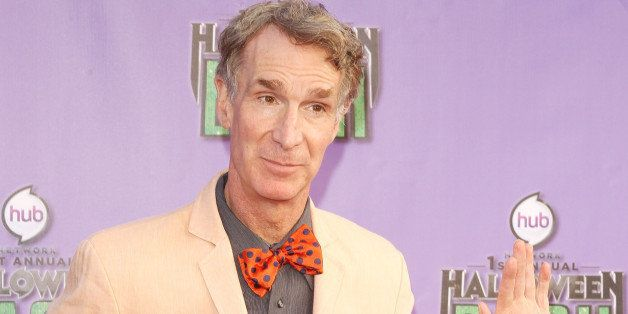 SANTA MONICA, CA - OCTOBER 20:  Bill Nye arrives at Hub Network's 1st Annual Halloween Bash held at Barker Hangar on October