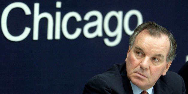 NEW DELHI, INDIA:  Mayor of Chicago Richard M. Daley listens to a speaker during an interaction oraganised by the Confederati