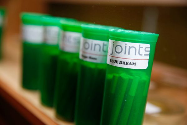 Different strains of marijuana are displayed for sale at The Clinic in Denver.
