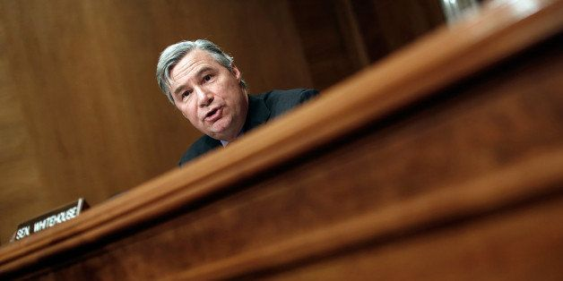 WASHINGTON, DC - JANUARY 16:  Sen. Sheldon Whitehouse (D-RI) speaks during a hearing of the Senate Environment Committee Janu