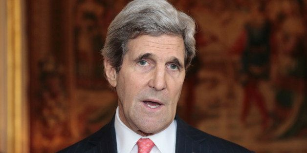 US Secretary of State John Kerry speaks during a visit on February 19, 2014 at the Quai d'Orsay, the Foreign ministry, in Par