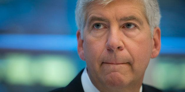 Rick Snyder, governor of Michigan, speaks during an interview in New York, U.S., on Friday, July 26, 2013. Snyder said he hop