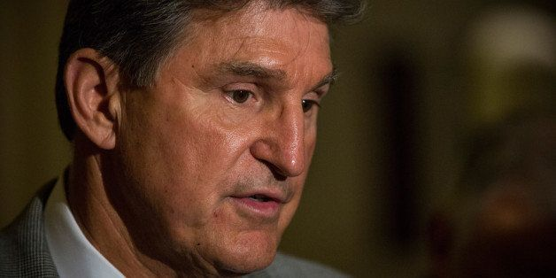 WASHINGTON, DC - OCTOBER 14:  Sen. Joe Manchin III (D-WV) talks to members of the media at the Capitol Building on October 14