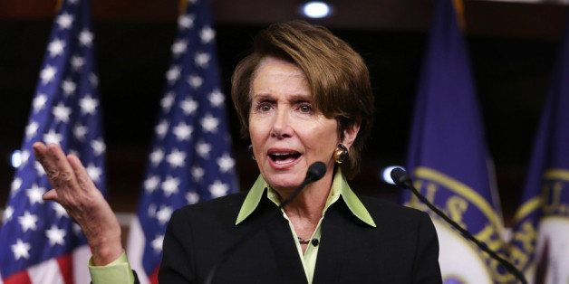 WASHINGTON, DC - FEBRUARY 06:  U.S. House Minority Leader Rep. Nancy Pelosi (D-CA) speaks during her weekly news conference F