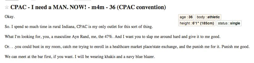 CPAC Craigslist Personals: 'I Need a MAN  NOW!' (NSFW