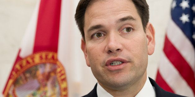 US Sen. Marco Rubio, R-Florida, speaks to reporters March 6, 2014 on Capitol Hill in Washington,DC after meetings with Venezu