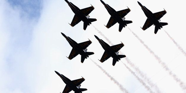 2935440e SOUTH BEND, IN - NOVEMBER 02: The U.S. Navy Blue Angels perform a stadium