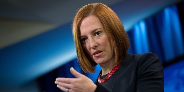 US State Department spokeswoman Jen Psaki speaks at the daily briefing at the State Department in Washington,DC on March 10,
