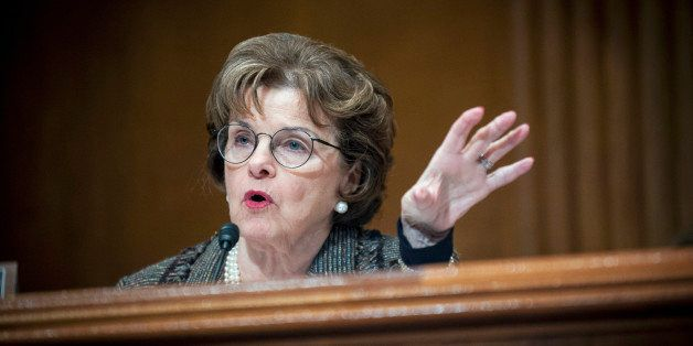 Senator Dianne Feinstein, a Democrat from California, questions a witness during a Senate Appropriations subcommittee hearing