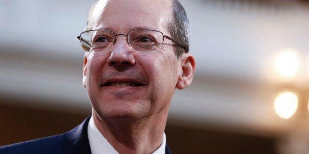 TRENTON, NJ - FEBRUARY 25:   New Jersey State Supreme Court Chief Justice Stuart Rabner waits for Gov. Chris Christie to deli
