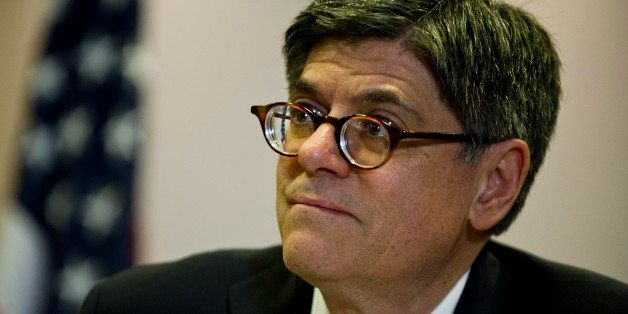 U.S. Secretary of the Treasury Jacob Lew delivers a joint press conference with Brazil's Finance Minister Guido Mantega (out