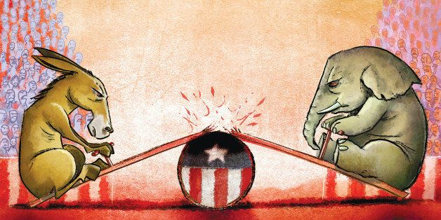 USA - 2012:  Hector Casanova illustration of the Democrat donkey and Republican elephant on a seesaw with the plank breaking