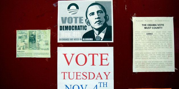 BIRMINGHAM, AL - NOVEMBER 03:  Flyers for Democratic presidential candidate Obama are seen in the Civil Rights District, an a