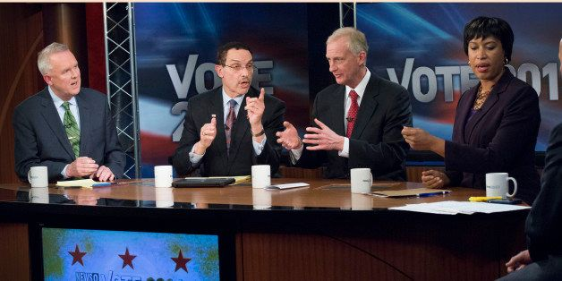 ARLINGTON, VA  - MARCH 13:   DC Democratic Mayoral Candidates (L-R)  Tommy Wells, Vincent Gray, Jack Evans and Muriel Bowser