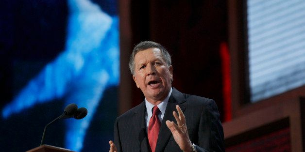 Ohio Gov. John Kasich speaks to the crowd Tuesday, August 28, 2012 at the Tampa Bay Times Forum in Tampa, Florida on the firs