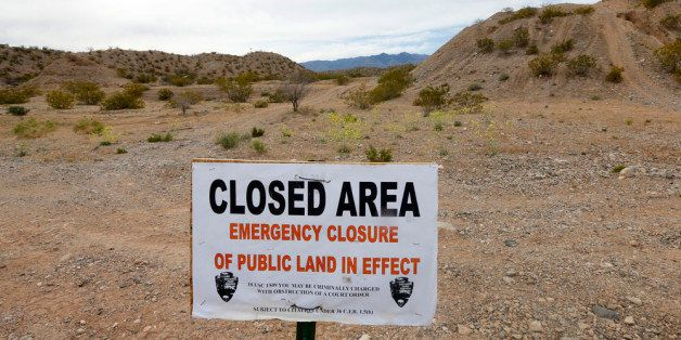 MESQUITE, NV - APRIL 11: A sign sits at the beginning of a road that goes into thousands of acres of Bureau of Land Managemen