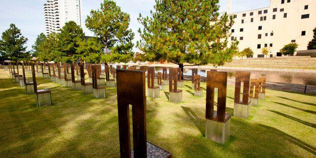 North America, USA, Oklahoma, Oklahoma City, Murrah Federal Building Memorial, Field of Empty Chairs representing, 168 Men, W