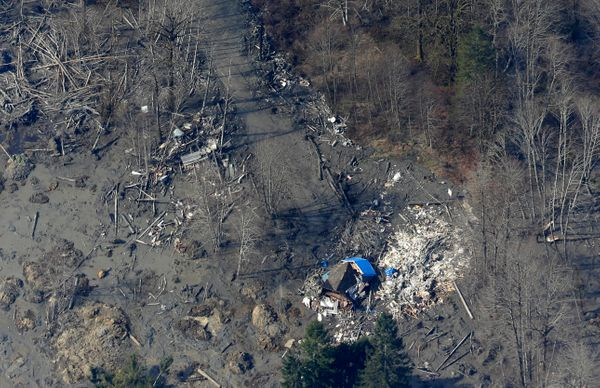 A house destroyed by the massive mudslide that killed at least eight people