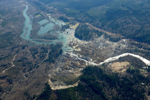 The Stillaguamish River is shown backed up at left in this aerial photo