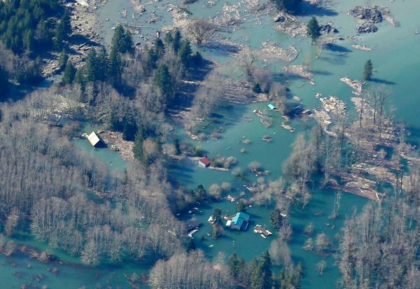 Houses and other structures are shown flooded by the backed-up Stillaguamish River up-river from the massive mudslide