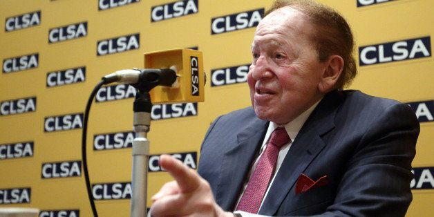 Billionaire Sheldon Adelson, chairman and chief executive officer of Las Vegas Sands Corp., speaks during a news conference a