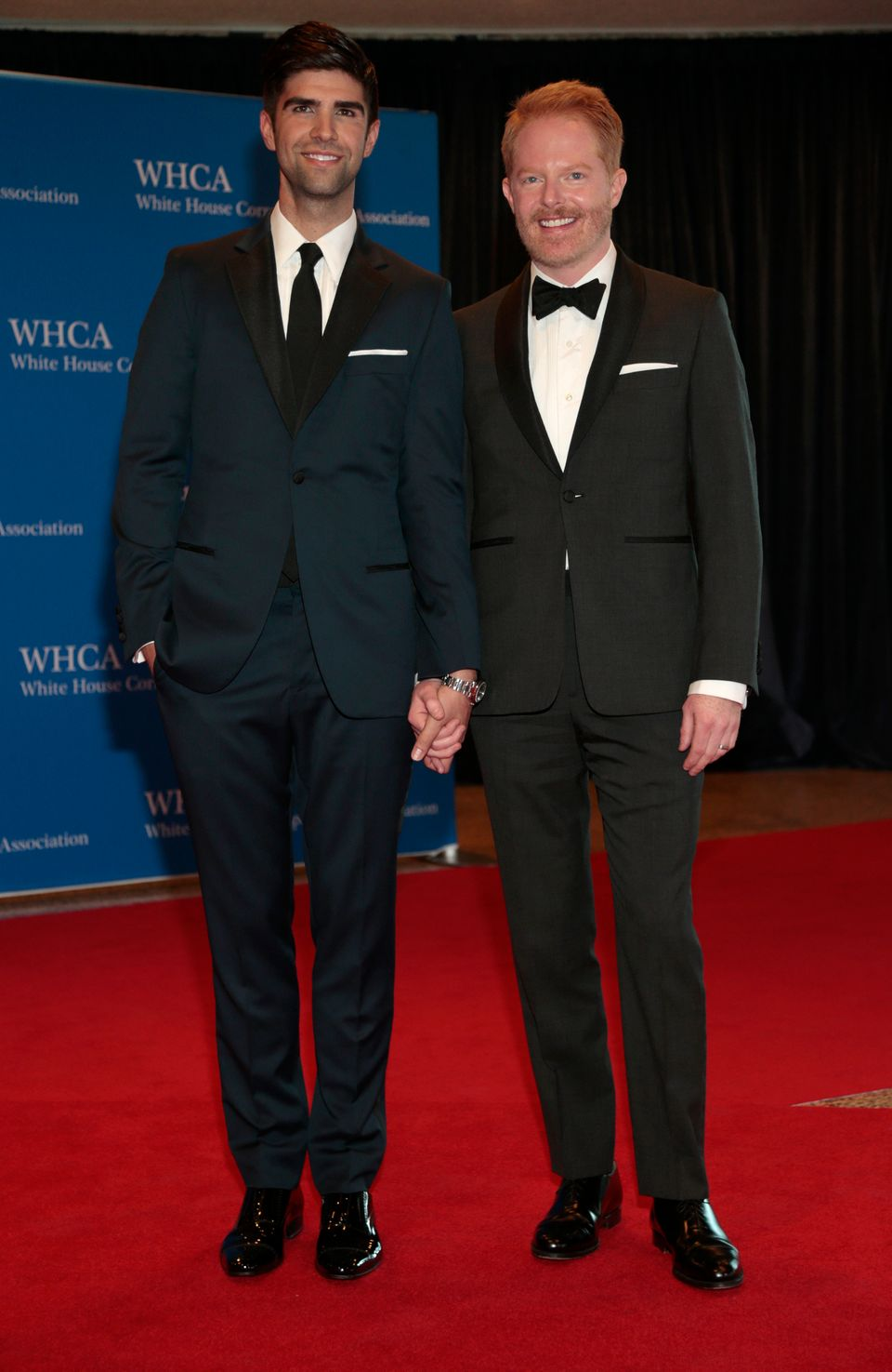Actor Jesse Tyler Ferguson, right, and husband Justin Mikita arrive for the White House Correspondents' Association (WHCA) di