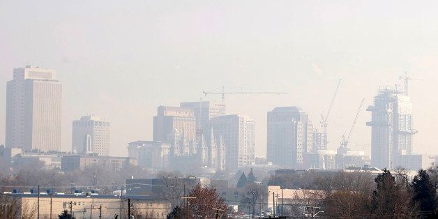 A Mormon Temple in downtown Salt Lake City is cast in heavy smog in Salt Lake City, Utah, U.S., on Monday, Jan. 11, 2010. In