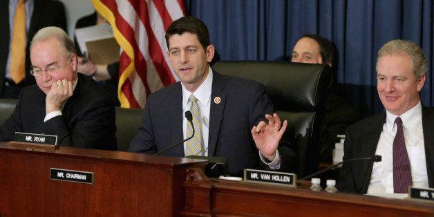 WASHINGTON, DC - FEBRUARY 05:  House Budget Committee Chairman Paul Ryan (R-WI) (C) debates as ranking member Rep. Chris Van
