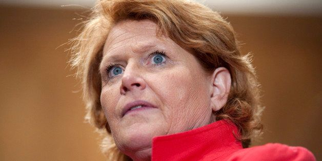 UNITED STATES - APRIL 23: Sen. Heidi Heitkamp, D-N.D., speaks at a press conference about the Marketplace Fairness Act in the