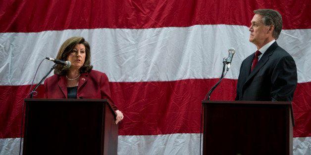UNITED STATES - APRIL 19: Karen Handel, left, and David Perdue participate in the Republican candidates for Georgia's open U.