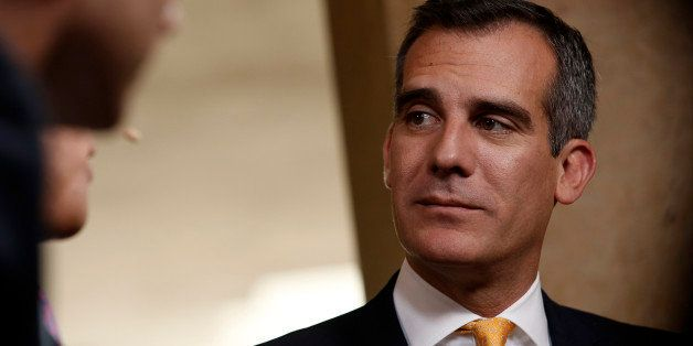 Eric Garcetti, mayor of Los Angeles, listens after an interview at the annual Milken Institute Global Conference in Beverly H