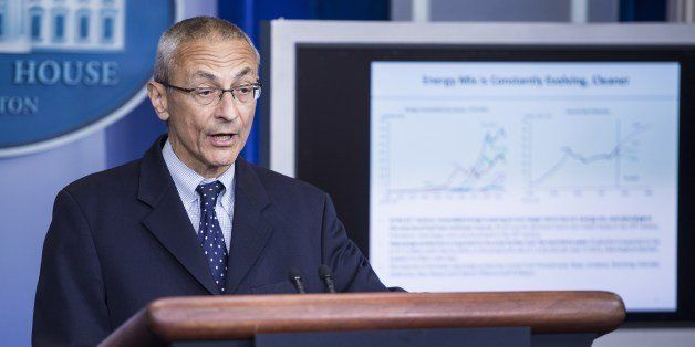 Senior White House counselor John Podesta speaks during the daily briefing at the White House on May 5, 2014 in Washington.