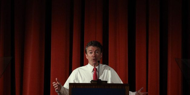 BERKELEY, CA - MARCH 19:  U.S. Sen. Rand Paul (R-KY) speaks during the Berkeley Forum on the UC Berkeley campus on March 19,