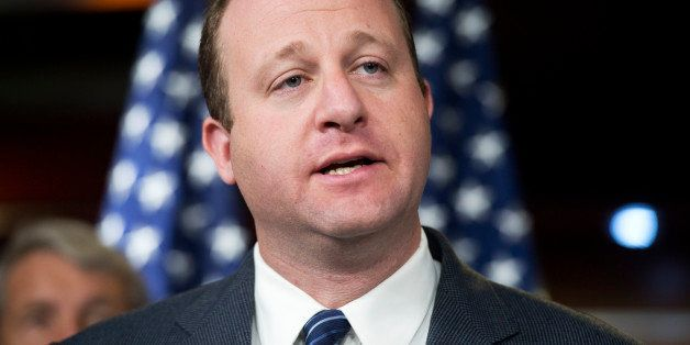 UNITED STATES - OCTOBER 02:  Rep. Jared Polis, D-Colo., conducts a news conference with members of the House Democratic confe
