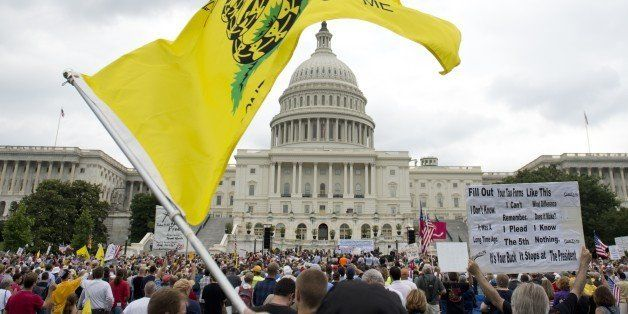 Demonstrators with the Tea Party protest the Internal Revenue Service (IRS) targeting of the Tea Party and similar groups dur