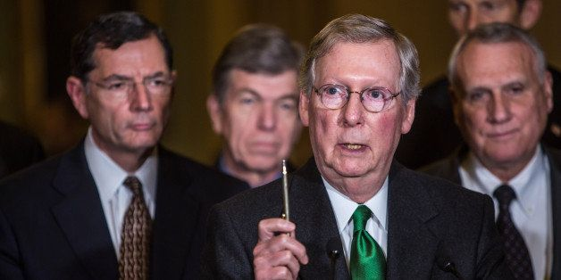 WASHINGTON, DC - DECEMBER 4: (L-R) Sen. John Barrasso (R-WY), Sen. Roy Blunt (R-MO), Senate Minority Leader Mitch McConnell (