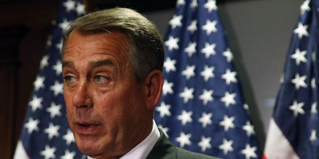 WASHINGTON, DC - MAY 20:  House Speaker John Boehner (R-OH) speaks to the media on Capitol Hill, May 20, 2014 in Washington,