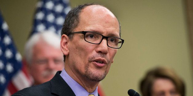 UNITED STATES - APRIL 03: Labor Secretary Thomas Perez, speaks at an event in the Capitol Visitor Center to call on the minim