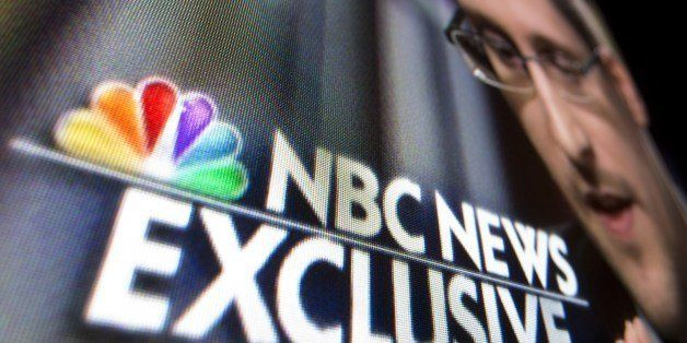 A photo illustration shows a part of a TV screen with the TV network NBC News logo taken in Washington,DC on May 28, 2014, du