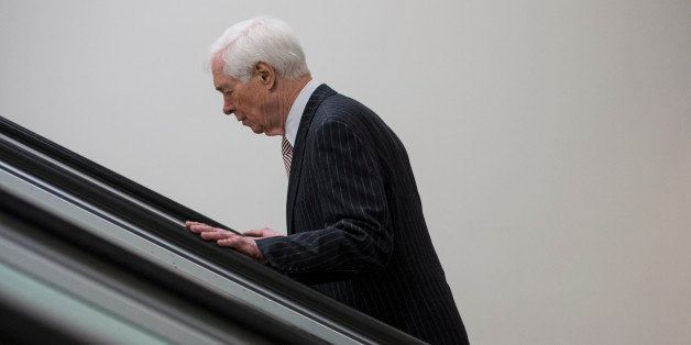 UNITED STATES - APRIL 1: Sen. Thad Cochran, R-Miss., arrives in the Capitol for the Senate Republicans' policy lunch on Tuesd