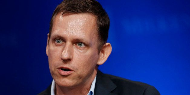 Peter Thiel, president of Thiel Capital, speaks at the annual Milken Institute Global Conference in Beverly Hills, California