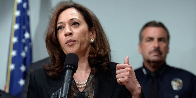 LOS ANGELES, CA - MAY 17:  California Attorney General Kamala Harris speaks at a news conference on May 17, 2013 at the Los A