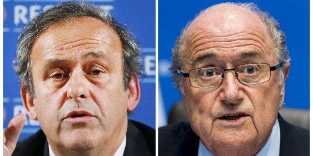 A combination made on June 3, 2014 shows files pictures of the UEFA president Michel Platini (L) taken on February 22, 2014 i