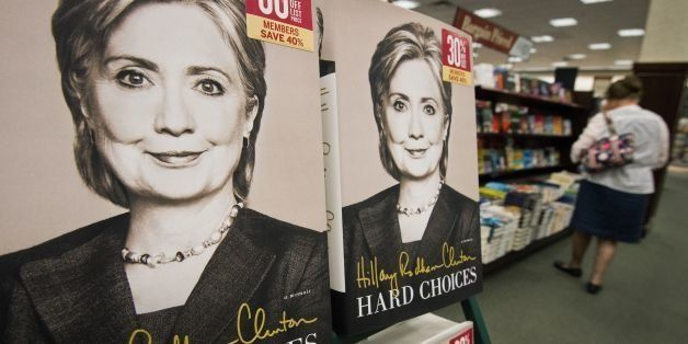 Copies of former US Secretary of State Hillary Clinton's new book, 'Hard Choices' are viewed for sale at the Barnes & Noble B