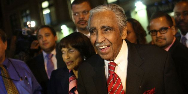 NEW YORK, NY - JUNE 26:  Congressman Charles Rangel arrives to supporters at his campaign headquarters after polls have close