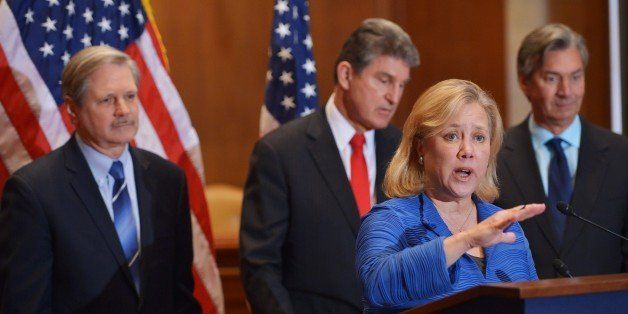 Senator Mary Landrieu (2nd R), D-LA, speaks during a a press conference on  the Keystone XL pipeline in the Dirksen Senate Of