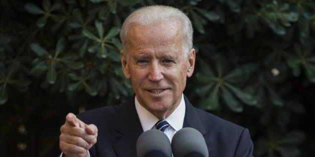 US Vice President Joe Biden gestures as he speaks at Ledra palace in the UN-patrolled Buffer Zone in Nicosia on May 22, 2014.