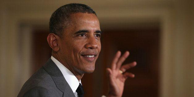 WASHINGTON, DC - JUNE 18:  U.S. President Barack Obama speaks during the first ever White House Maker Faire June 18, 2014 in