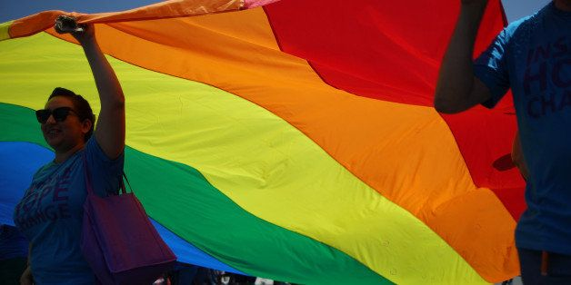 WEST HOLLYWOOD, CA - JUNE 8:  Marchers carry a rainbow flag in the LA Pride Parade on June 8, 2014 in West Hollywood, Califor
