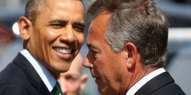WASHINGTON, DC - MARCH 14: US President Barack Obama (L) talks with Speaker of the House John Boehner (R-OH) after a luncheon